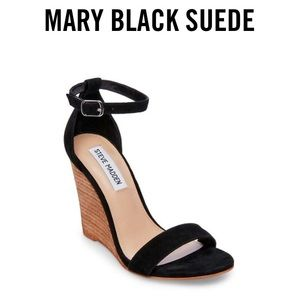 "Steve Madden ""Mary"" Black Suede Wedges"